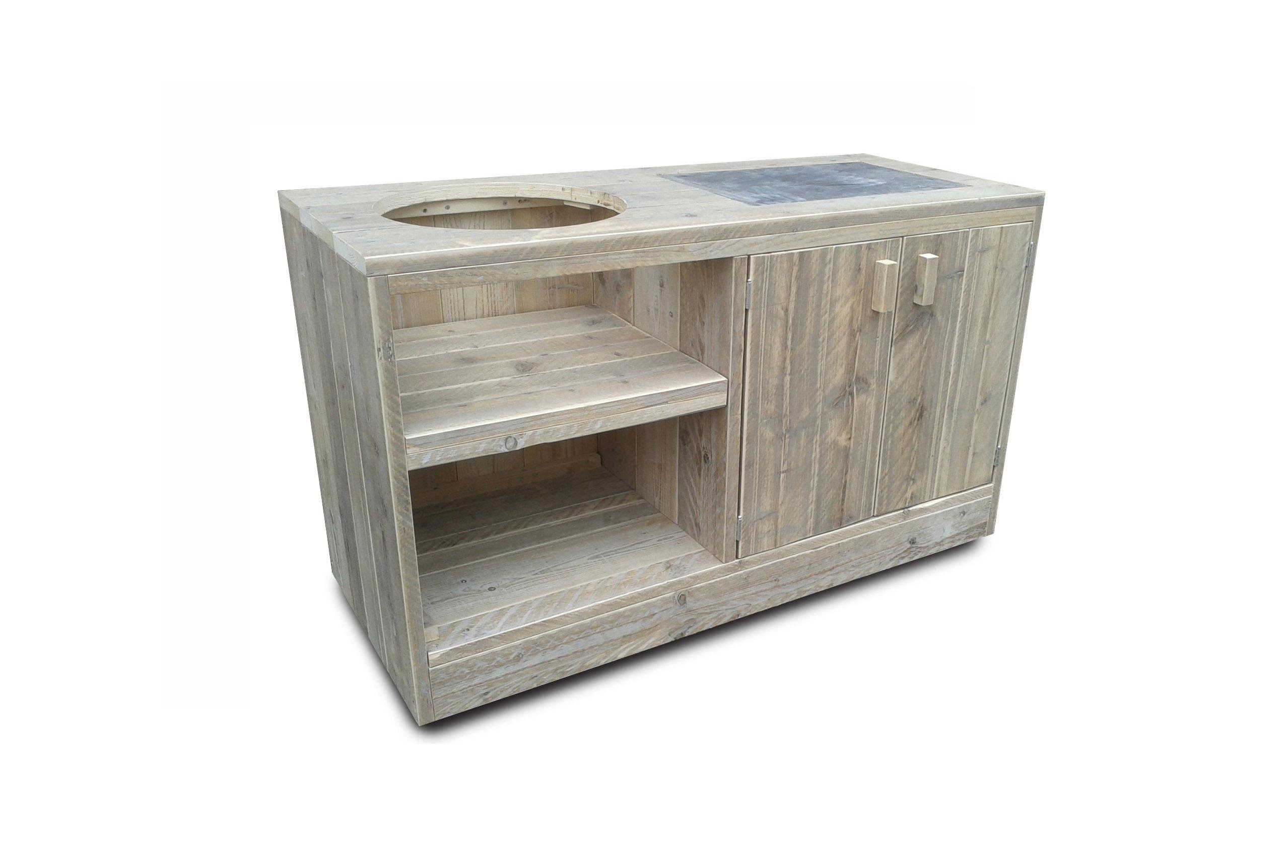 Tafel steigerhout met opbergkast cookers grills for Bbq tafel maken